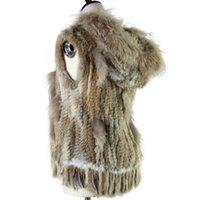 Harppihop мода енота, обрезки вязаный кролик жилет с капюшоном меховой жилет Gilet 201112