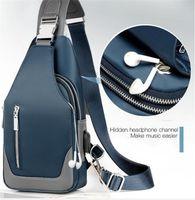 2020 новый мужской сумка плеча Оксфорд ткань Грудь сумки Crossbody повседневные сумки посыльного Человек USB зарядка Многофункциональный сумка