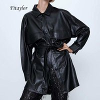 Fitaylor 여성 블랙 PU 가죽 재킷 나비 넥타이 띠는 분할 코트 여성 대형 거리 가짜 소프트 가죽 펑크 외투 주머니