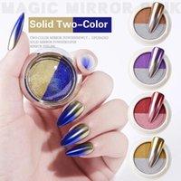 اللونين التدرج المزدوج الألوان الأظافر بريق مسحوق الليزر 1BOX الصلبة المرآة السحرية مسمار مسحوق الأظافر الديكور
