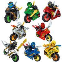 8 шт. Ninjago Motorcycle Set Minifigures Ninja Mini Figures Блоки игрушки 24 шт. Ninja Строительные блоки Игрушки Подарок 1008