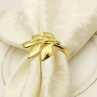 Metallblatt Serviette Ring Hotelartikel Ahornblätter Napkins Schnalle Golden Silber Farbe OPP-Paket 3 9HW J1
