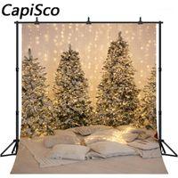 Capisco Noel Ağacı Fotoğraf Arka Planında Beyaz Kar Işık Yeni Yıl Aile Dekorasyon Kar Tanesi Fotoğraf Arkaplan Stüdyo Props1