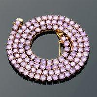 Fashion Hommes Femmes Bijoux 18K plaqué or 4mm 18-20inch Rose Purple CZ Collier de tennis pour hommes Femmes