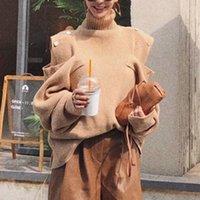 LANMREM Корейской новых осенний кнопка нового дизайна ниши плечо пропущенной водолазка свободный свитер модные персонифицированные женщины 201017