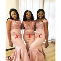 Платья подружки невесты ASO EBI ASO ASO ASO ASO EBI Sheer Heew Clace Appliques Без спинки Длинные горничные честь платья свадебное гостевое платье