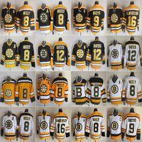 Boston 8 Cam Neely Bruins Hokey Jersey Erkekler 12 Adam Oates 9 Johnny Bucyk 16 Derek Sanderson Vintage CCM 75th Buz Dikişli Siyah Beyaz