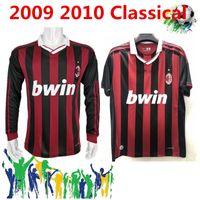 Ретро Classic 2009 2010 2010 AC Милан футбол для футболки Pirlo Maldini Kaka AC 09/10 Ретро футболка