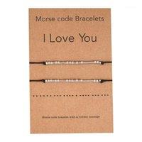 2 pcs eu te amo amizade Morse código delicado bracelete com mensagem secreta para mulheres homens amante jóias presentes1