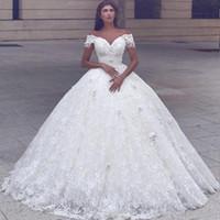 Saïd Mhamad arabe luxe Cour 2021 Robe de mariée Off the Shoulder à manches courtes train dentelle perlée Robe De Novia Charme Robes de mariée