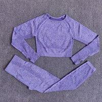 Femmes sans soudure Yoga Set Gym Vêtements Fitness Taille High Taille Leggings Culture Top Top Shirts Sports Sport Pantalon Pantalon Active Wear Y200904