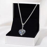 2020 рождественские игристые голубое луна и звезды сердца ожерелье 925 стерлингов серебряные украшения цепи кулон ожерелья для женщин мужчин q0127