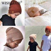 Mütze / Schädelkappen Wunsch Club 2021 Mode Baby Winter Hut Gestrickte Mütze Mädchen Junge weiche warme Beanie Feste Farbe Kinder Hüte Headwear Toddler Ki
