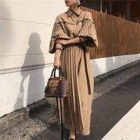 2021 Vintage Laterne Langarm Plissee Falten Frauen Kleider Mode Lace Up Patchwork Weibliche Kleid Einreiher Vestidos Femme