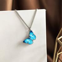 2020 Yeni Alaşım Kelebek Kolye Kolye Bilezik Moda Gümüş Kaplama Zincir Kolye Serin Komik Takı Kolye