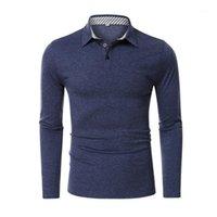 Moda camisas casuales camisas de manga larga Slim Fit Button Cuello a rayas Hombres Color sólido suave camisa formal Tops1