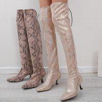 vertvie donne sopra il ginocchio Boots Serpentine Tacchi alti Calze Stivali Scarpe a punta Zipper Thin Heels Scarpe inverno donna