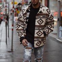 2020 Осень Зима Мужчины Пальто Argyle Printed Тонкий Длинные однобортный воротник стойка шерстяное пальто Мужчины Зимний Streetwear Прохладный Jacket