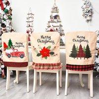 Рождество Председатель Обложки Санта Клаус Обложка ужин Председатель задней обложки Стулья Cap Set Рождественская елка автомобилей Xmas Главная Банкет Свадебный декор KKA1430