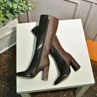 Nouveau mode de luxe de luxe bottes à talons hauts élégants matériaux en cuir souple confortable 15 pouces dames Knight bottes imprimées tissu taille 35-42