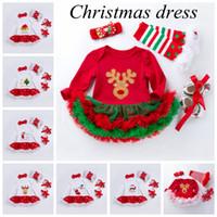 Baby Girl Chriatmas Robe Jolie robe à volants Nouveau-né Robe Robe Robe Bandeau Chaussette 4pcs Set Fête Costume Vêtements de Noël Vêtements de Noël DXP2