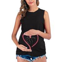 Yeni Hamile kadın Kalp Baskı T-shirt Yaz Kolsuz Gömlek Annelik Giysileri