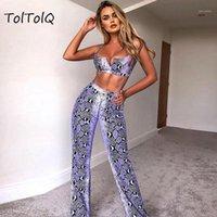 Toltolq 2019 Snake Print Débardeur sans manches Débardeur haute taille longue pantalon pantalon de pantalons rouges sexy femmes vêtements 2 pièces ensemble zipper1