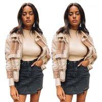 Neck Long Sleeve Thick Warm Winter Coat Fashion Casual Women Fleece Outerwear Plaid Wool Blend Jackets Womens Designer Plus Size Lapel