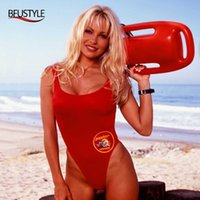 Bfustyle classique USA Baywatch Maillot de bain Femmes Sexy Rouge Rouge Support One Pièce Bather Shakwear Thong Shak Signes T200114