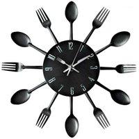 Timelike Kitchen Column Clock 3D современные творческие столовые приборы кухонные ложки вилка настенные часы зеркало наклейки наклейка домашнего декора1