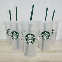 24 oz / 710ml Starbucks Cosa de plástico Reutilizable Clear Beber Bebida Plana Pilar Forma Tapa Taza De Paja Bardian