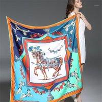 100% Swill Silk Mulheres Scarf Europe Design Foulard 130 * 130 cm Francês Cavalo Impressão Quadrado Scarves Moda Shaaps1