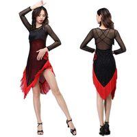 Stage Wear Donne Tassel Dance Latin Dress Bryny Belly Costume Mesh Milk Silk Ballroom Abbigliamento Tango Cha Salsa Competition Outfit