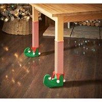 Novo design 4 pçs / set Santa Claus perna cadeira Pé capas linda mesa decoração de Natal decorações engraçadas jllack outbag2007
