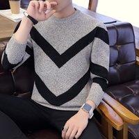 2020 Мода V-образные полоски свитер мужской свитер толщиной тепло круглый воротник нижнего свитер мужской свободные Корейский