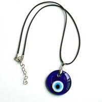 Flache runde glas böser auge gewachst kordel schmuck halskette griechisch türkisch blau auge amulett für mädchen