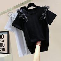 Camiseta para mujer Camiseta de verano Camiseta de moda Personalidad Relavado costura Casual Casual Mangas de manga corta Tops Estudiantes Camiseta TEES1