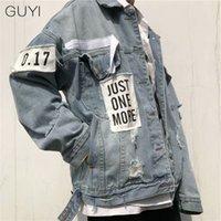 Guyi retro carta rasgada jeans jaquetas homens oversize manga comprida buraco outerwearCoats moda rua streetwear casacos casuais 201226