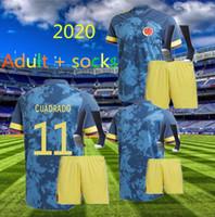الكبار عدة + Socks2020 Soccer Jersey Copa America Columbia Football Shirt James Rodriguez Camiseta Mailleot De Foot Cuadrado Camisetas de Futbol