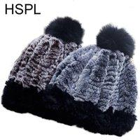 HSPL para mujer de invierno sombrero de piel con piel real Pom Pom Punto de punto Moda Cálida Rusia Estilo Sombreros Pompones Hats Knit1