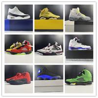 Nuevo 2021 5 4 6 Hombres de color verde blanco Zapatos de baloncesto Deportes deportes Entrenadores al aire libre con caja Tamaño 7-13