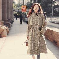 Корейский талия на венчах с капюшоном Женщины Мода Preppy Style Белый Лонг-Пальто Плащ Повседневная Тонкий Требовый Пальто Леди Внеубелье1