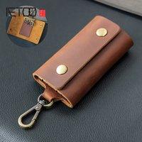 Aetoo crazy лошадиная повседневная ретро клавишная сумка, мужская талия подвесная головка кожаный кошелек, многофункциональный ключ