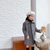 2020 abrigo de otoño de las muchachas que los niños de un solo pecho chaqueta de lana con juegos de falda de la manera de las muchachas del diseño Ropa