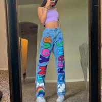 Gráficos Carta impresa Hagy Mujeres Jeans Pantalones Cintura Alta Pierna Pierna Punk Y2K Cute Demin Fashion Streetwear E-Girl Casual Jeans1