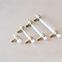 Moderna de acrílico del gabinete de cocina Perillas asas de latón oro Tbar cajón de la cómoda tirones Armario Armario Muebles tiradores de cristal de hardware