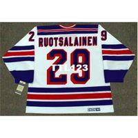 Herren # 29 Reijo Ruotsalainen New York Rangers 1984 CCM Vintage Retro Home Hockey Jersey oder benutzerdefinierte Name oder Nummer Retro Jersey