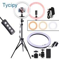 التصوير الفوتوغرافي LED Selfie Ring Light 12inch Dimmable كاميرا الهاتف الدائري مصباح مع 110 سنتيمتر حامل حوامل ماكياج الفيديو لايف ستوديو