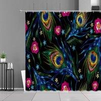Tende da doccia Stile cinese Peacocks Feather Flowers Embroidery Stampa Impermeabile Bagno Schermata per tenda da bagno Home Decor Panno muro