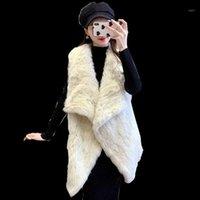 Pelliccia femminile Faux 2021 Russian Europea Fashion Warm Ladies Grande Poncho con cappuccio Cappuccio Dog Trimming Big Hood Cape Shawl1